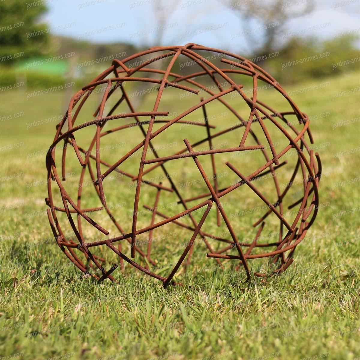 Boule Fil De Fer - Déco Jardin En Métal Diam. 50Cm serapportantà Boule Décorative Jardin