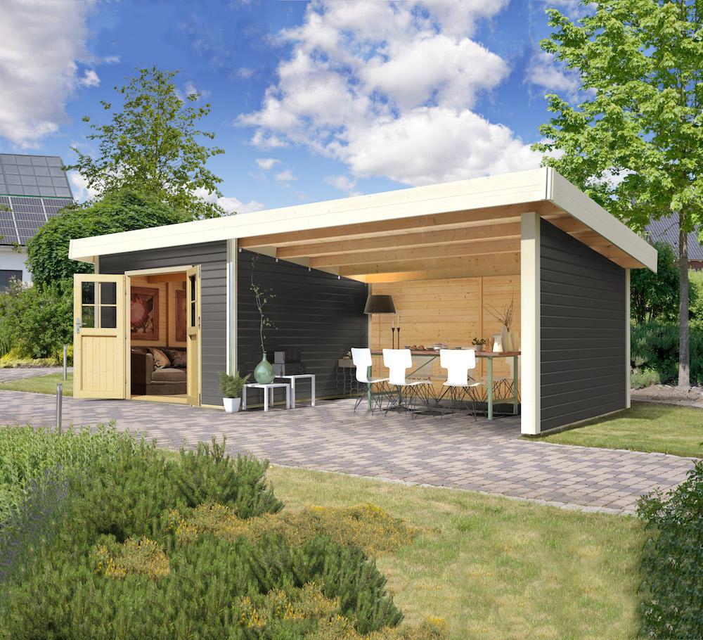 """Cabane De Jardin """"moosburg 3"""" Gris Terre Avec Abri Karibu 609 X 309 X 238 Cm concernant Gouttière Pour Abri De Jardin"""