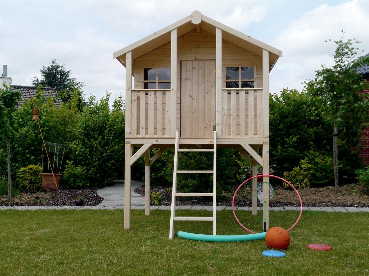 Cabane Pour Enfants Sur Pilotis - 1.8 X 1.9 M 81041 intérieur Cabane De Jardin Pour Enfants