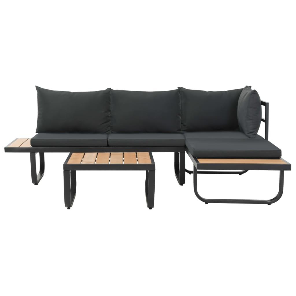 Canapé D'angle De Jardin À 2 Places Avec Coussins Aluminium Wpc concernant Canapé D Angle De Jardin