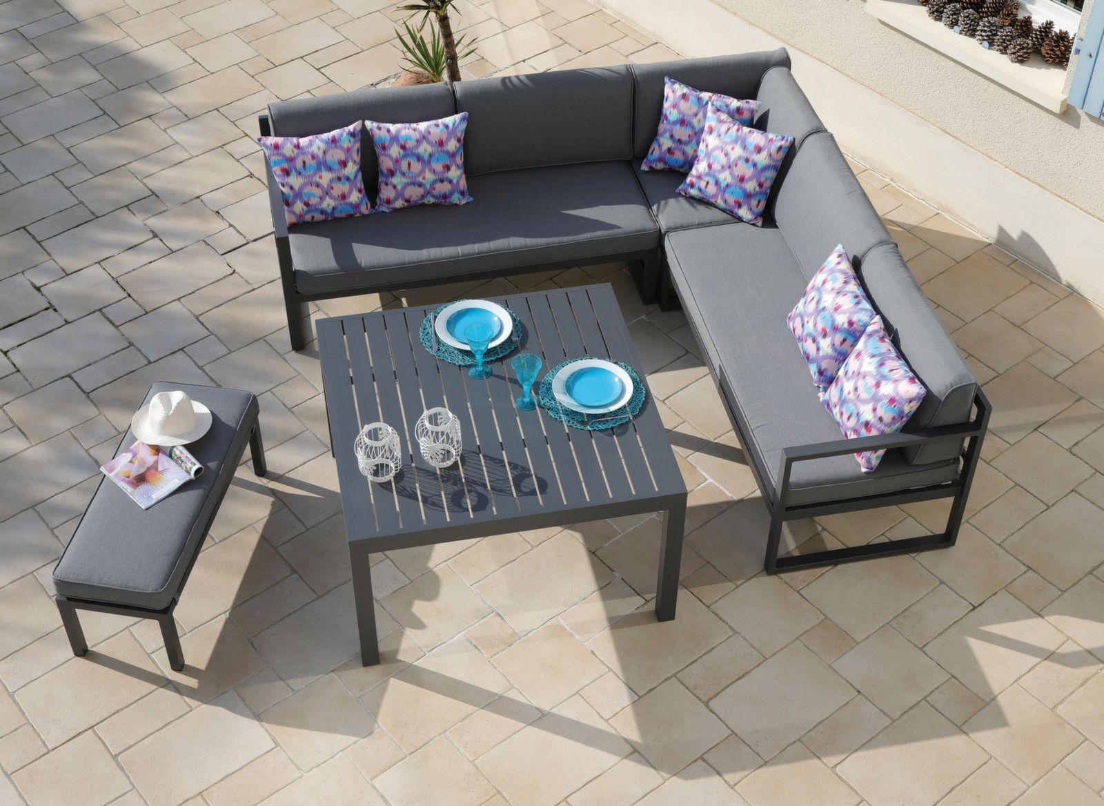 Canapé D'angle Royan Avec Banc Et Table pour Canapé D Angle De Jardin