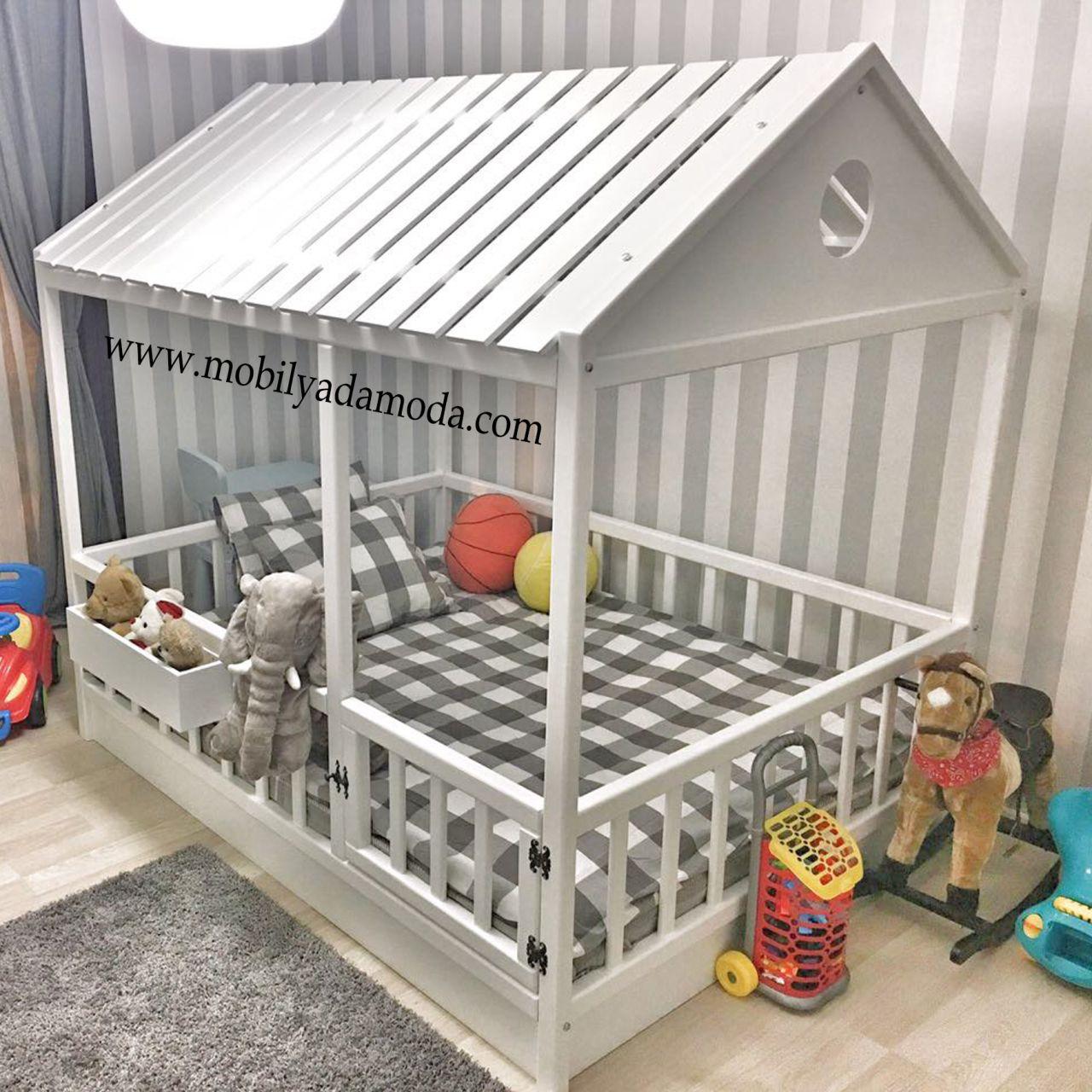 Çatısı Kapalı Montessori Yer Yatağı 140X190 | Bebek Yatak ... concernant Lit De Jardin Double