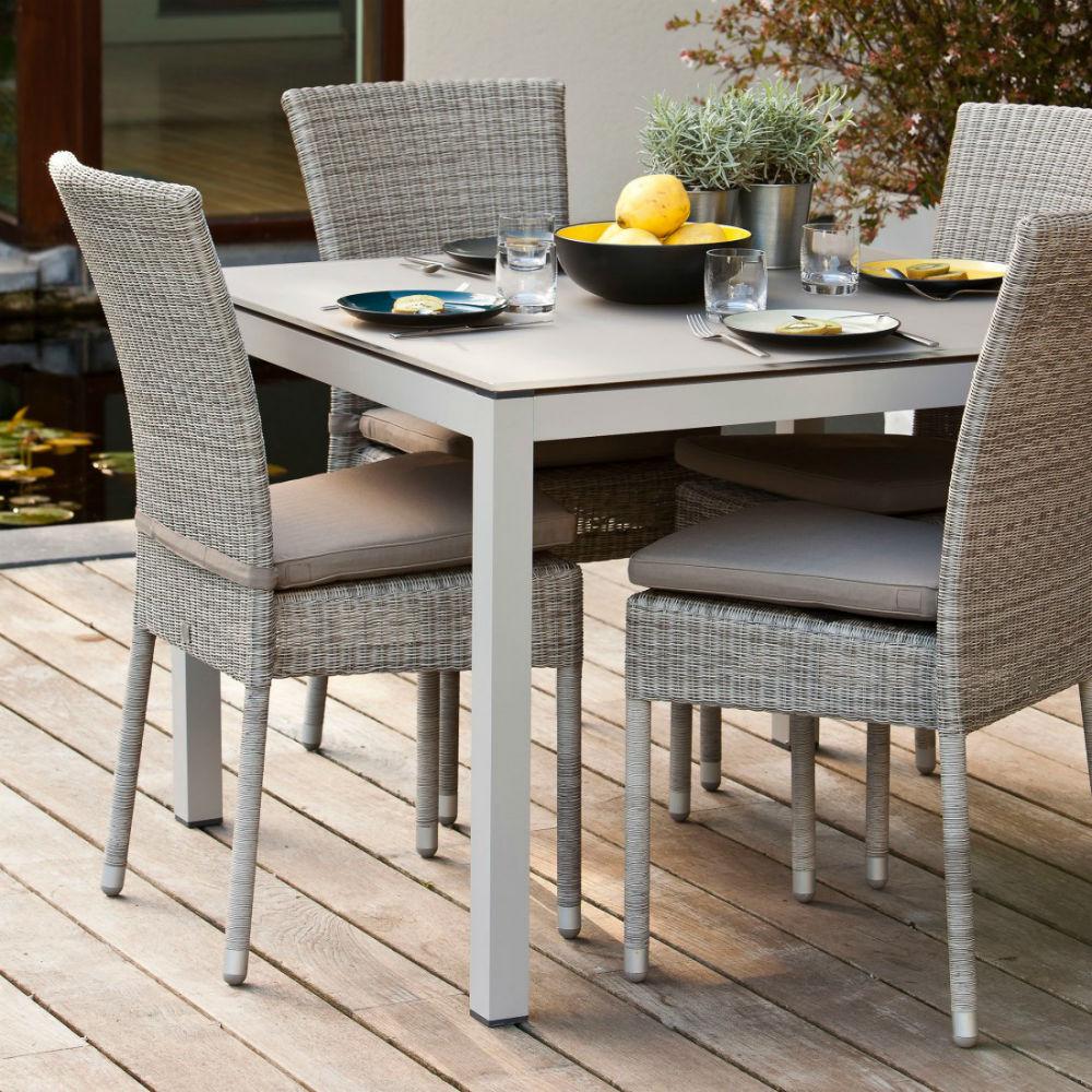 Chaise De Jardin En Aluminium Et Résine Tressée pour Table De Jardin En Resine Tressée
