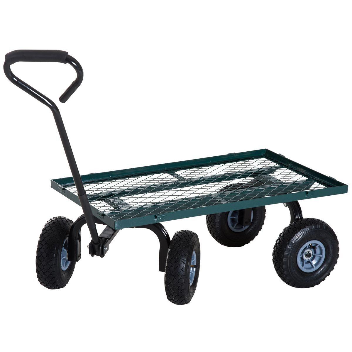 Chariot De Transport Jardin 4 Roues Vert | Chariot De ... avec Chariot De Jardin 4 Roues