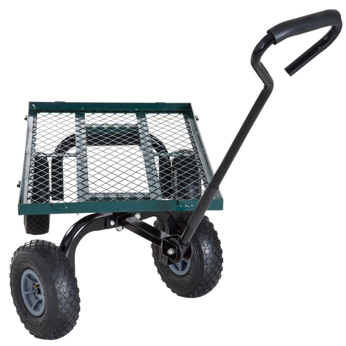 Chariot De Transport Jardin 4 Roues Vert - Taille : Taille ... à Chariot De Jardin 4 Roues