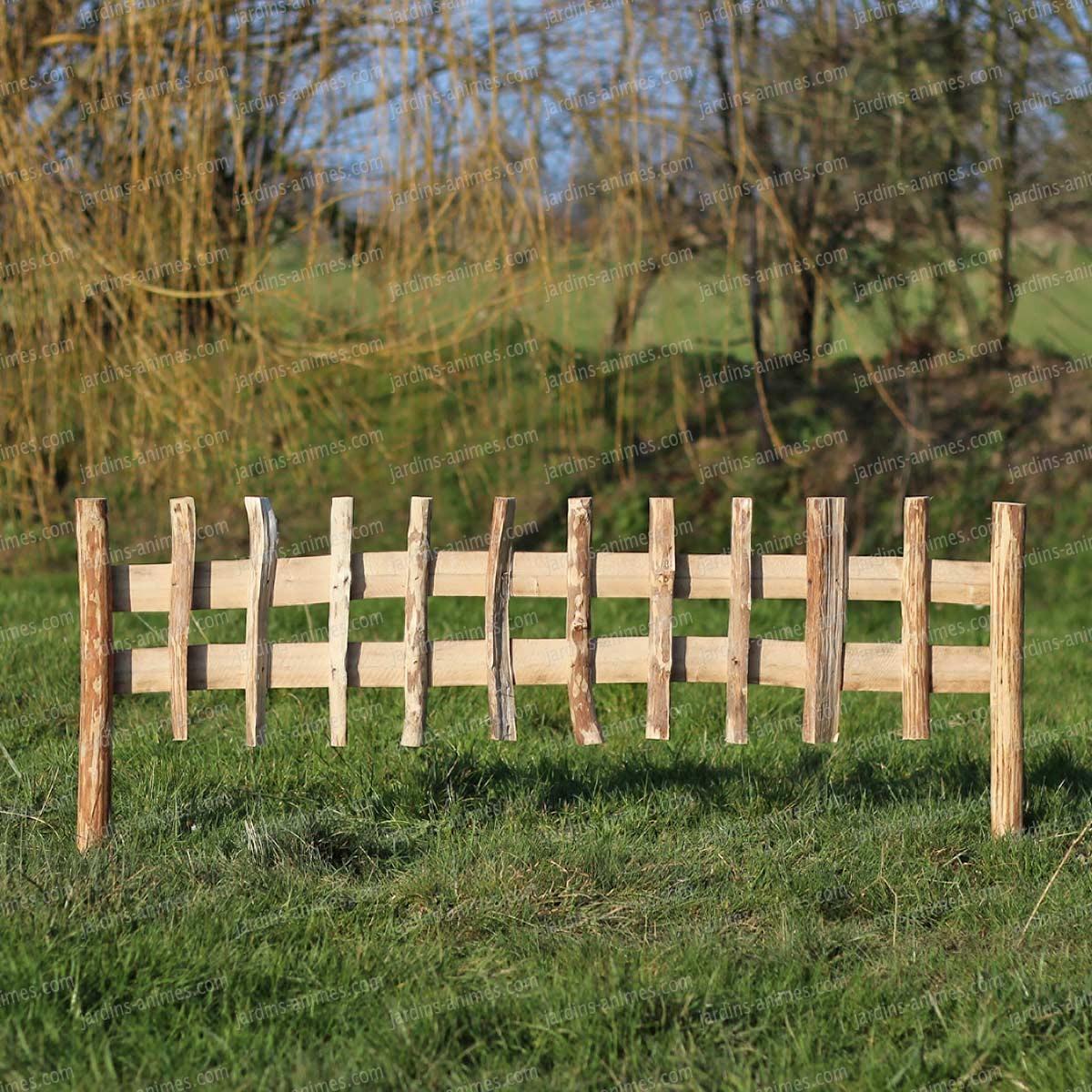 Cloture Bois Noisetier À Planter L.120Cm X H.50Cm avec Bordure Jardin Pas Cher