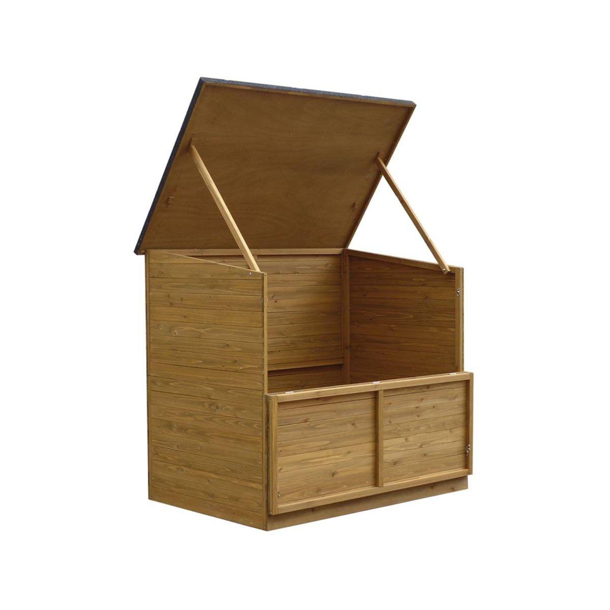 "Coffre De Jardin En Bois ""caja"" - 137 X 91 X 121 Cm - Marron ... dedans Coffre De Jardin Castorama"