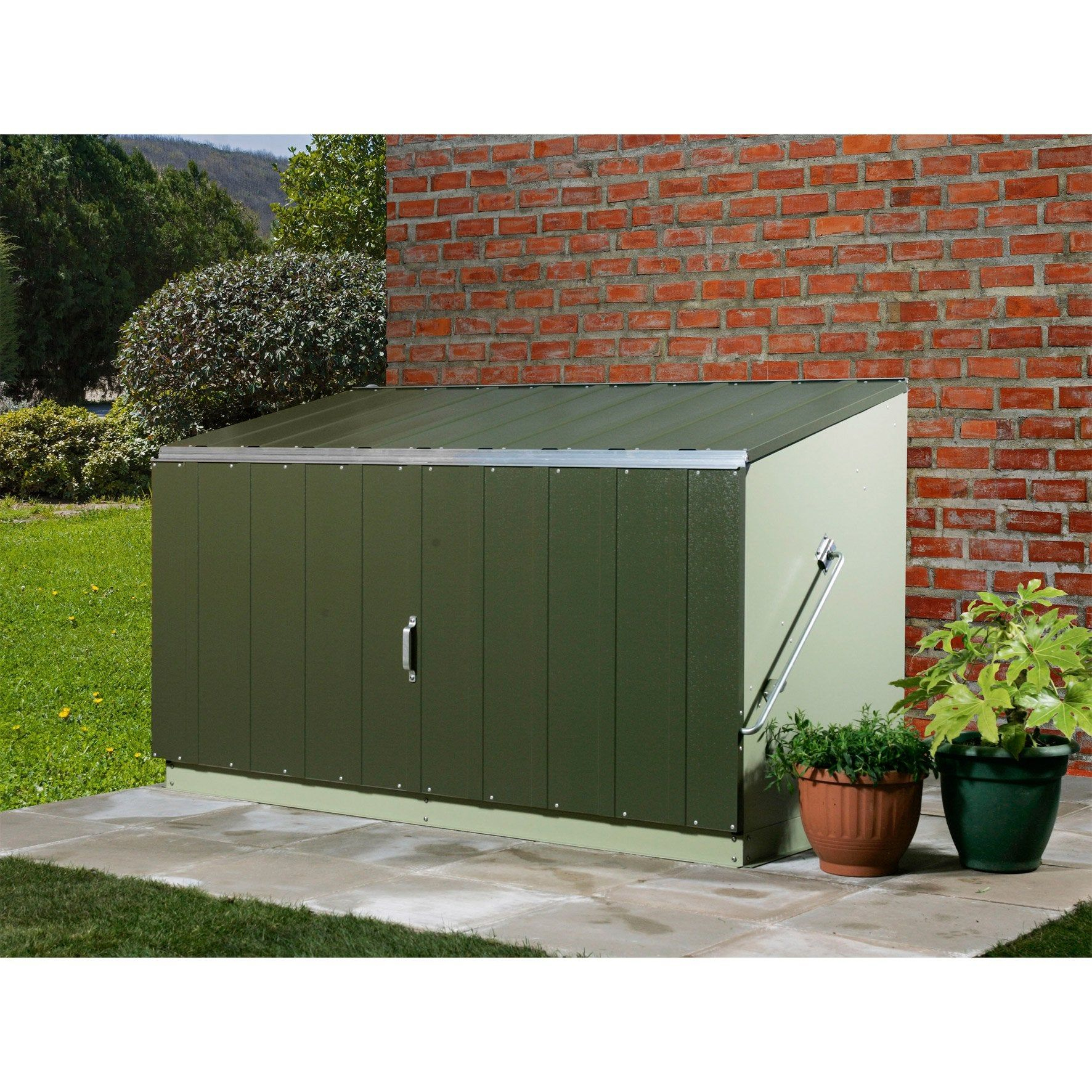Coffre De Jardin Métal Storeguard, Vert Pâle Et Olive, L.196 ... tout Coffre De Jardin Leroy Merlin