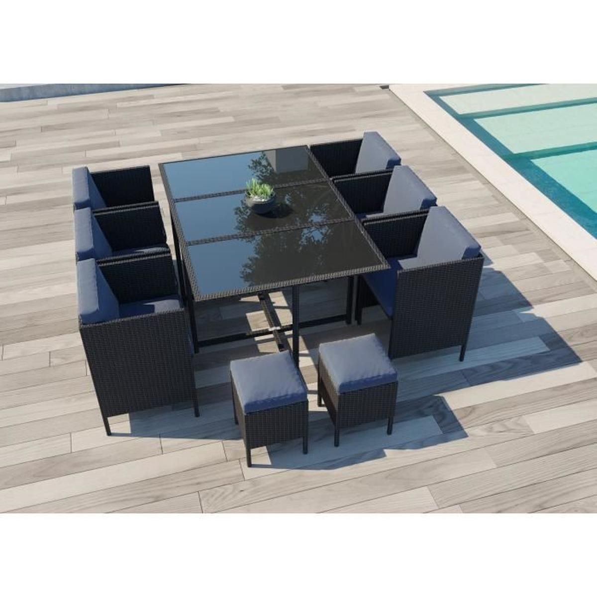 Daytona 10 : Salon De Jardin Encastrable 10 Places En Résine ... intérieur Cdiscount Salon De Jardin Resine