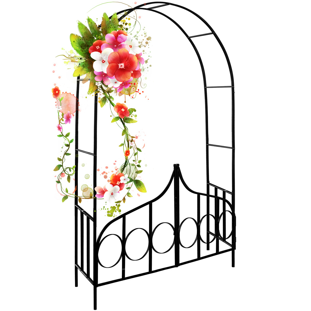 Détails Sur Arceau De Rosier - Arcade Rose Lierre Jardin Porte  Verrouillable - 240X140X40Cm intérieur Arceau Jardin