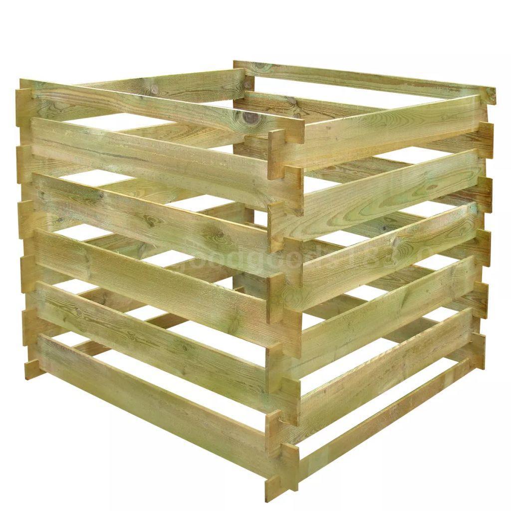 Détails Sur Bac À Compost Carré En Lattes En Bois 0,54 M³ R9A4 destiné Composteur De Jardin
