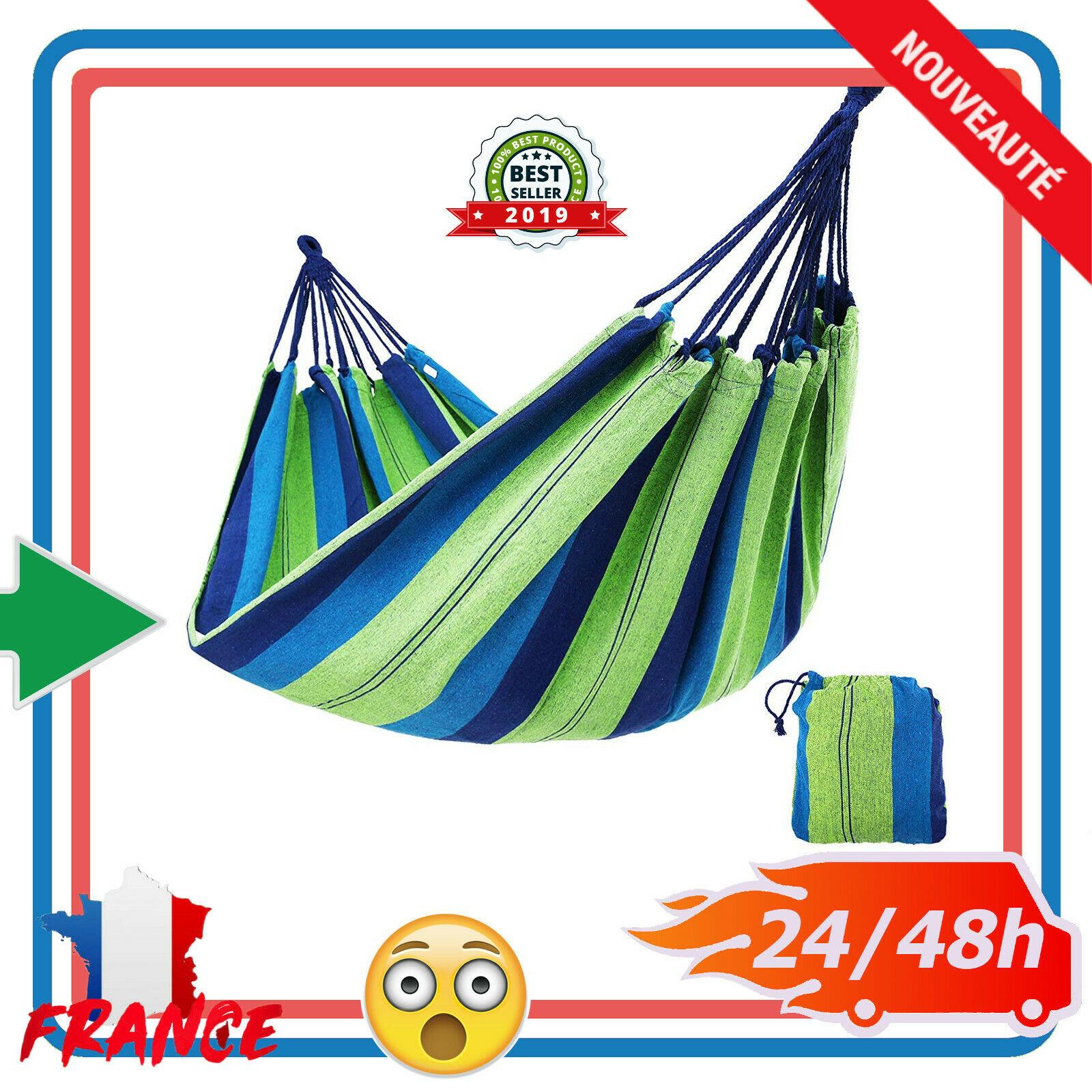 Détails Sur Portable Hamac De Jardin 2 Personnes Grand Lit Suspendu Camping  Voyage Terrasse concernant Lit Suspendu Jardin