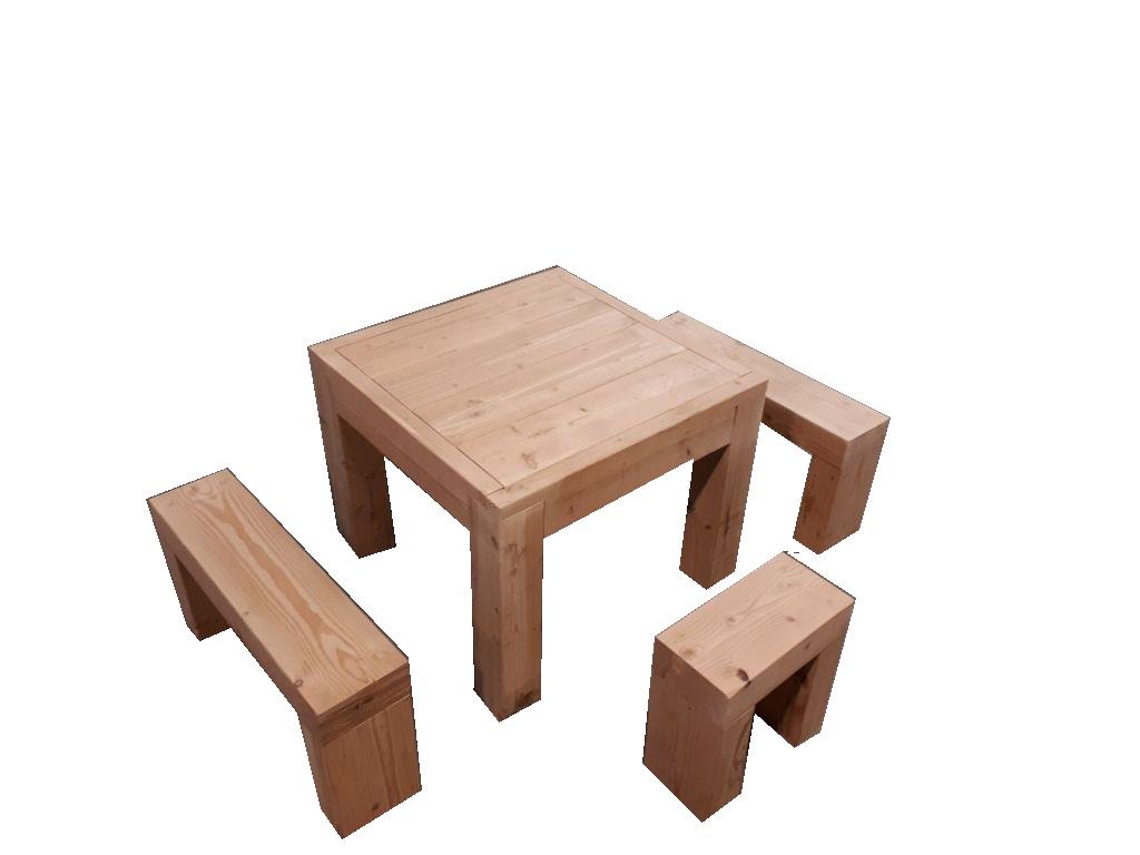 ☺Kit Salon De Jardin En Bois Douglas Naturel : Table Haute + Banc.  Livraison Gratuite Fr - Sud Bois : Terrasse, Bois Direct Scierie serapportantà Salon De Jardin Table Haute
