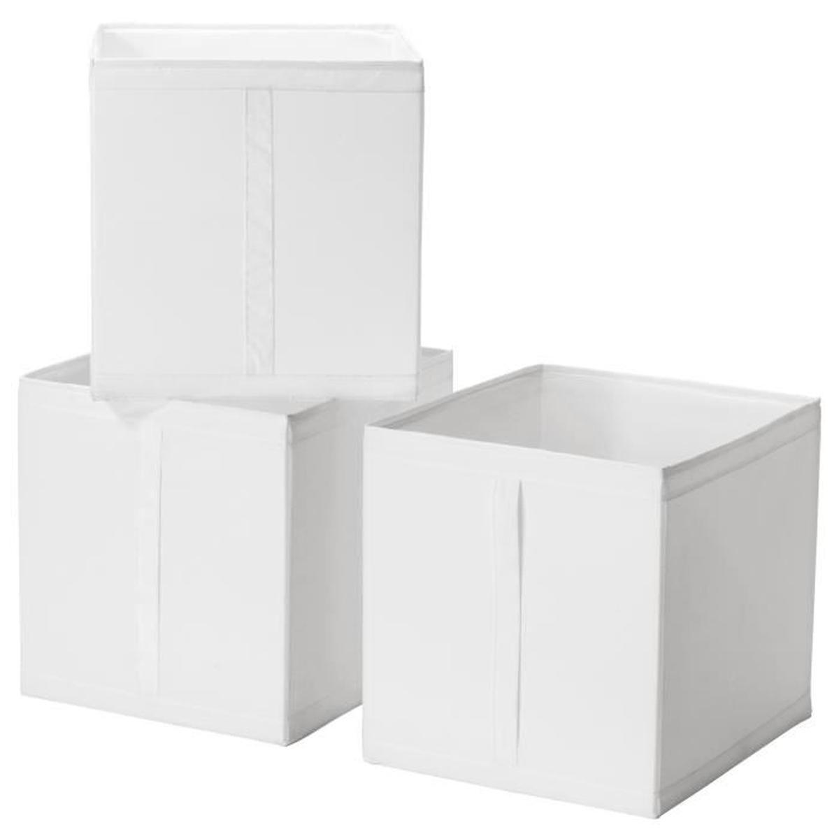 Ensemble 3 Boîtes De Rangement Avec Poigne 31X34X33 Cm Skubb ... encequiconcerne Coffre De Jardin Ikea