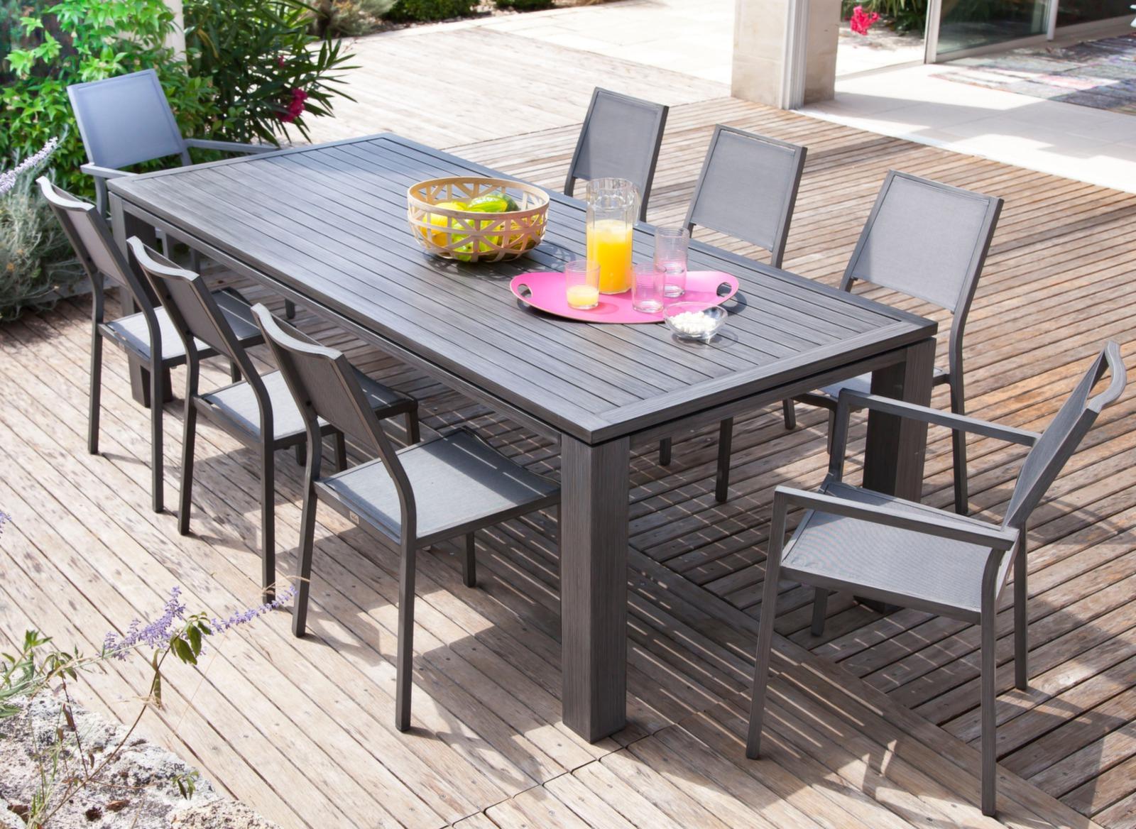 Ensemble Chaise Et Table De Jardin Sol Salon Aluminium ... concernant Table De Jardin Auchan