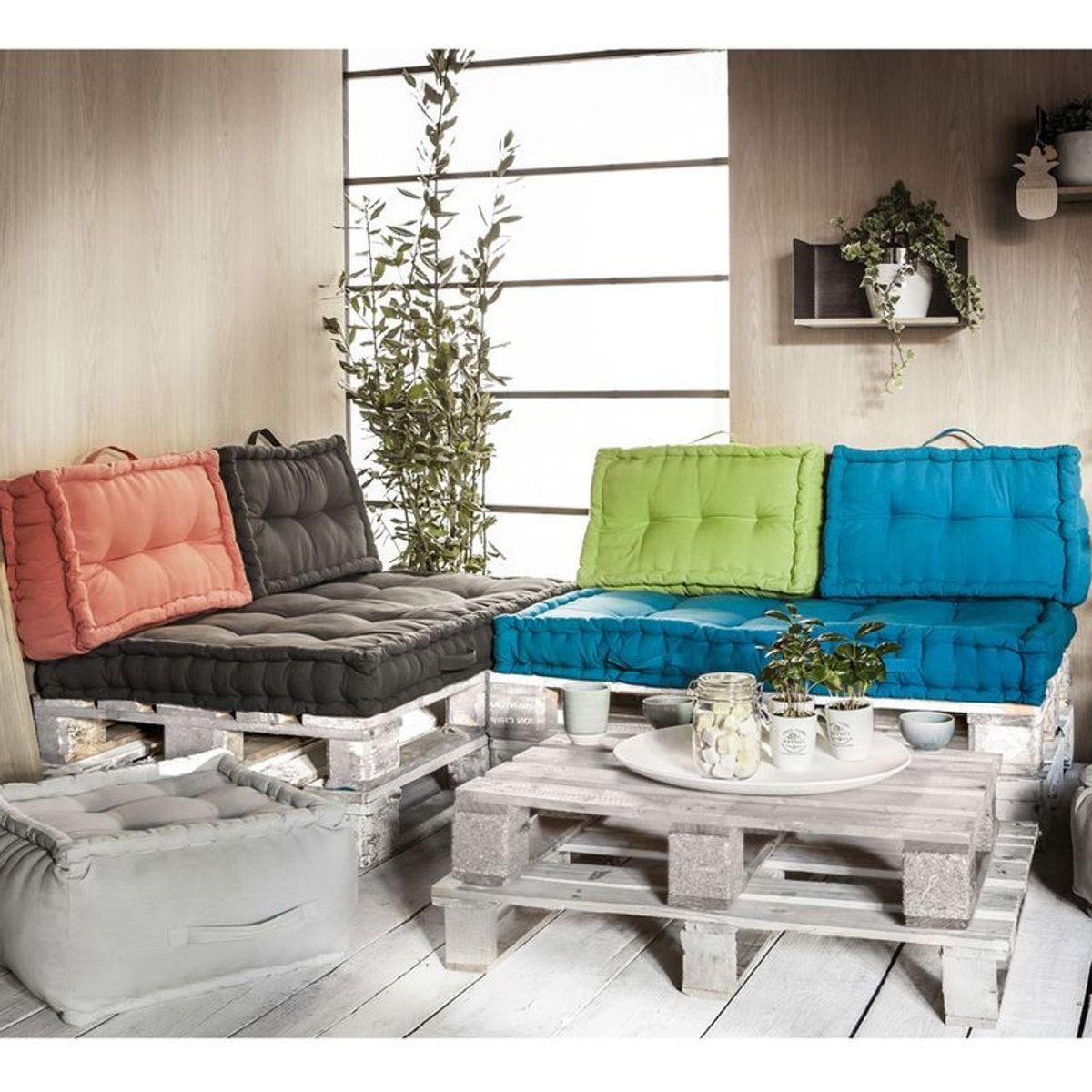 Ensemble Coussins Palettes En Coton Taupe - Taille : 120X90 ... pour Coussin Pour Salon De Jardin En Palette