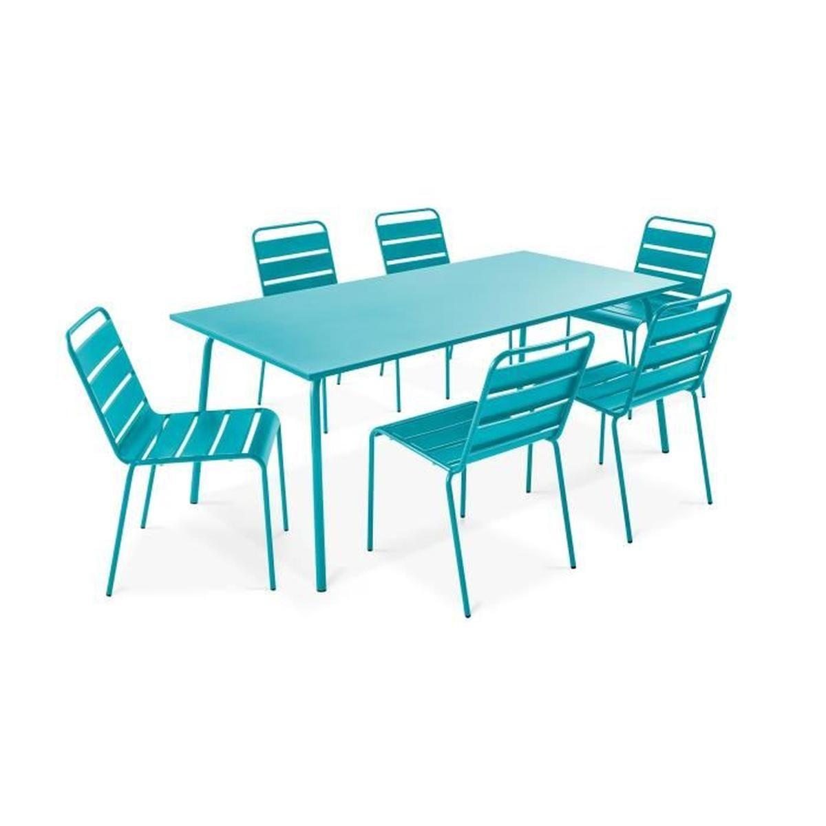 Ensemble Table De Jardin Et 6 Chaises En Métal - Salon De ... concernant Ensemble Table Et Chaise De Jardin Pas Cher