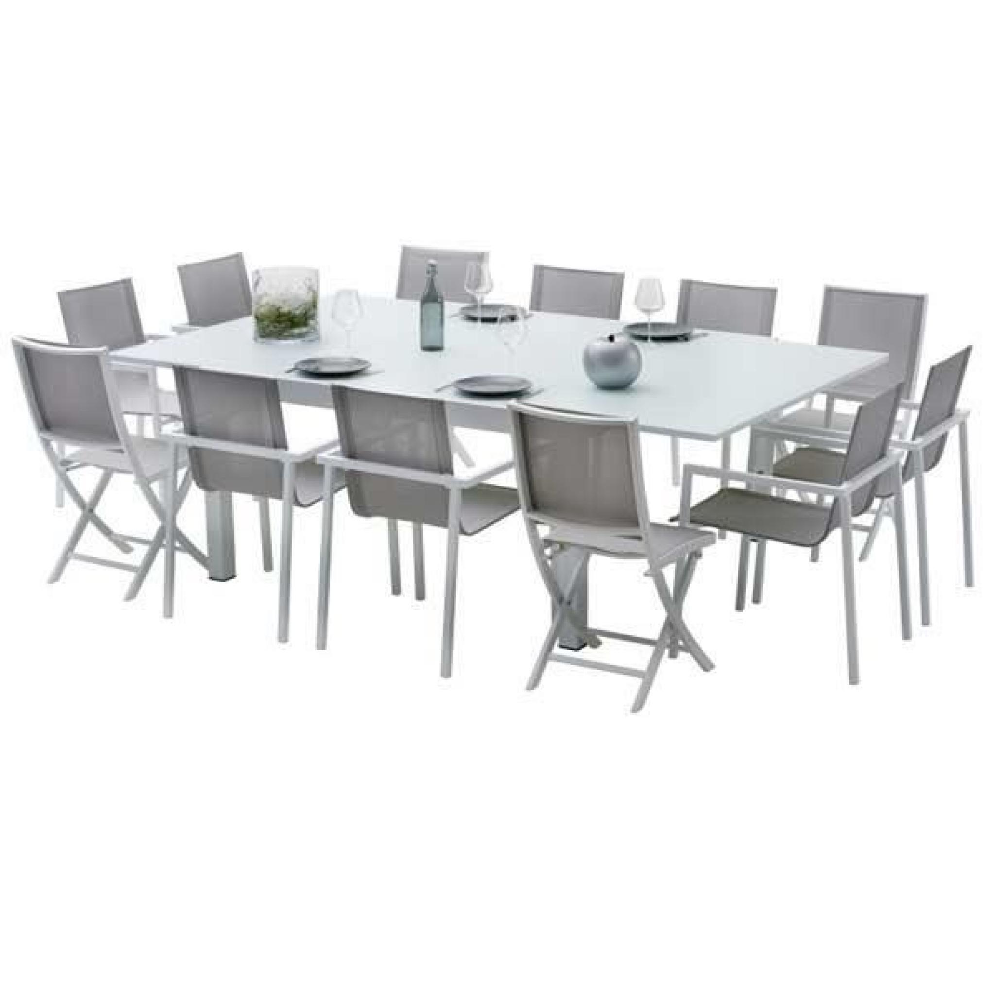 Ensemble Table Et Chaises De Jardin Extensibles Carre Whitestar 8 Places pour Table Et Chaises De Jardin Pas Cher
