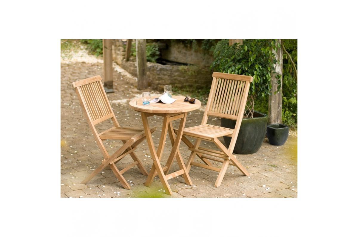 Ensemble Table Ronde + 2 Chaises Pliantes En Teck Massif Java - Teck Plus  D's encequiconcerne Ensemble Table Et Chaise De Jardin Pas Cher