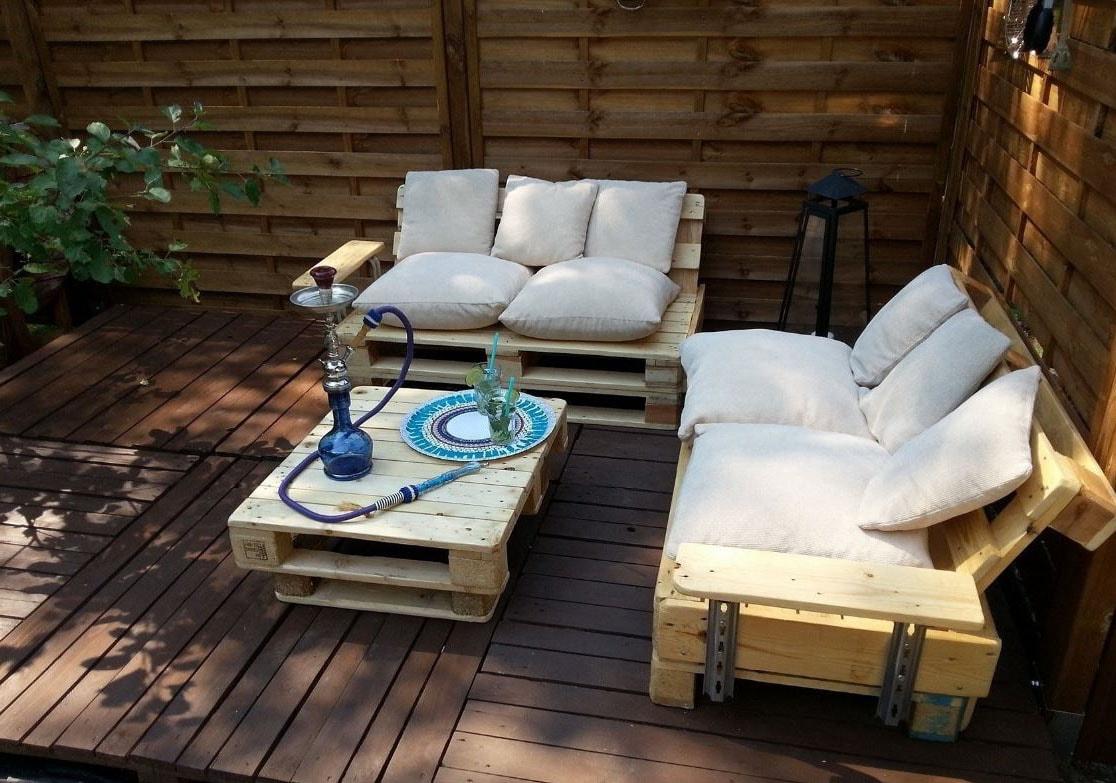Fabriquer Un Salon De Jardin En Palette : 30 Photos Et Idées ... pour Coussin Pour Salon De Jardin En Palette