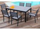 Floride Ensemble Table De Jardin 160 Cm + 2 Fauteuils + 4 Chaises Aluminium  Et Polywood Gris destiné Table Et Chaises De Jardin Pas Cher