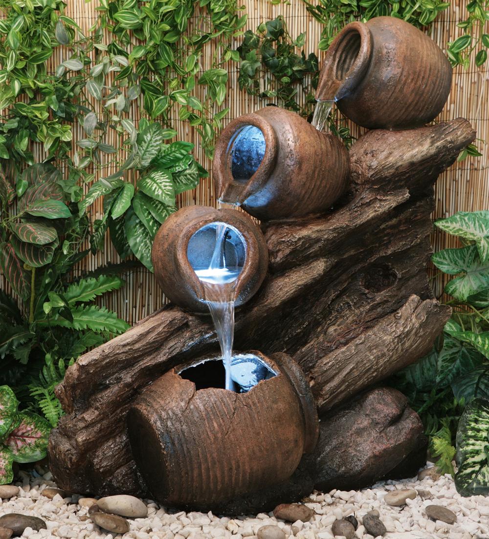 Fontaine Cascade 4 Jarres D'huiles Avec Lumieres à Jarre De Jardin