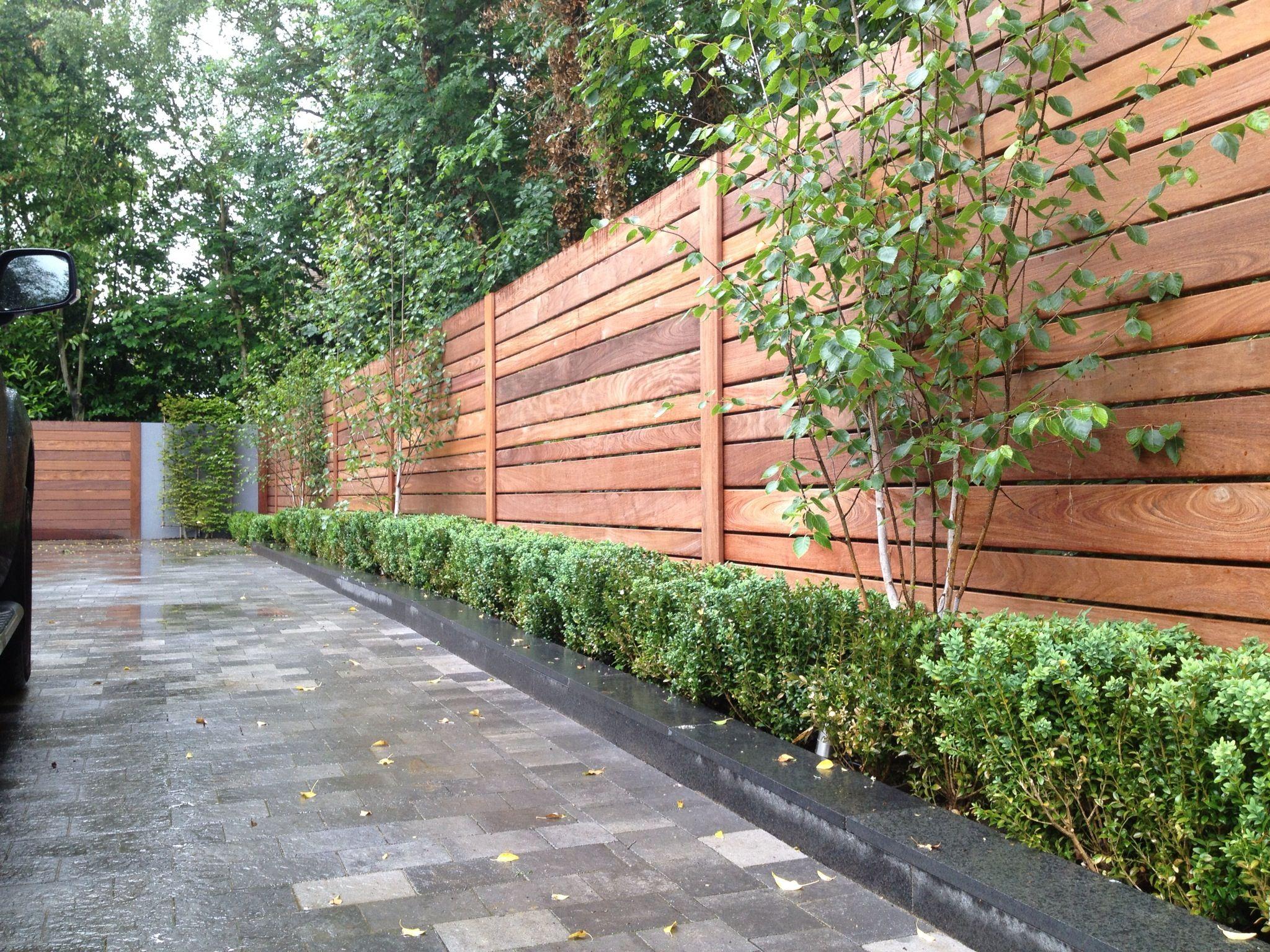 Front Driveway With Bespoke Fencing, Birch, Box & Basalt ... encequiconcerne Separation De Jardin