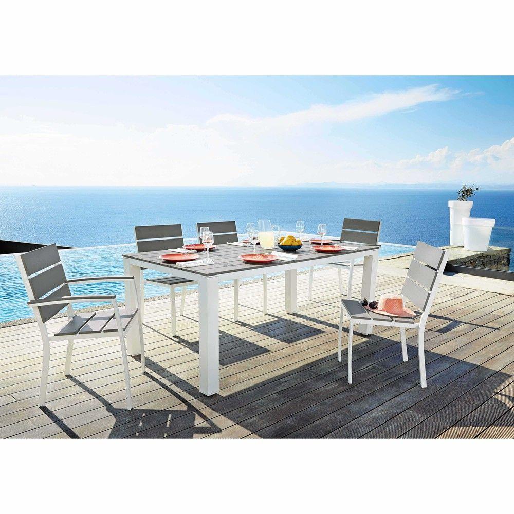 Gartentisch 6 Personen Aus Aluminium Und Verbundwerkstoff ... pour Salon De Jardin Maison Du Monde