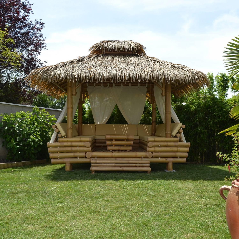 Gazebo Bambou Ou Paillote Bambou, Salon De Jardin, Pergola ... pour Paillote Jardin