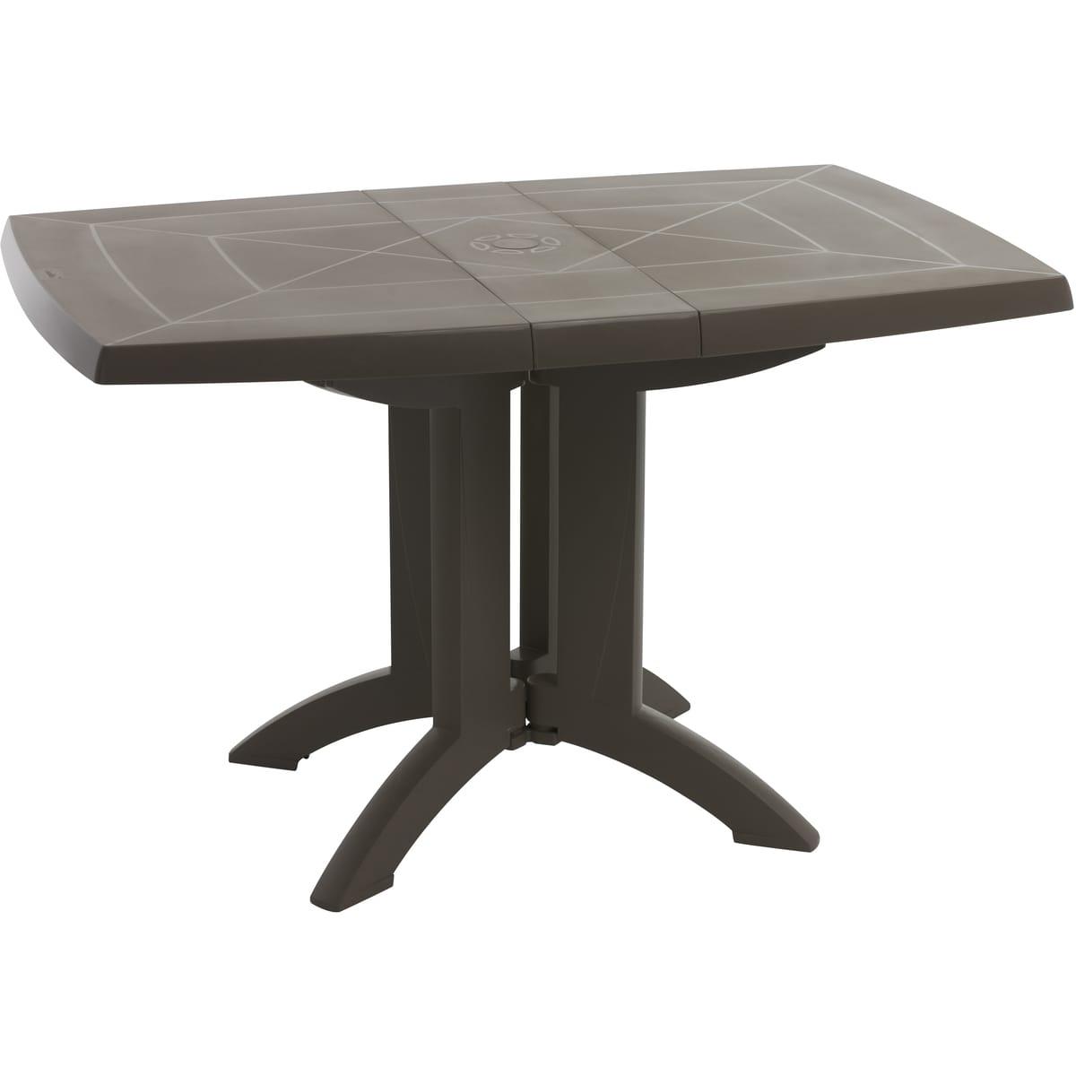 Grosfillex Table De Jardin Pliante 118X77Cm Résine Taupe Vega dedans Auchan Table De Jardin