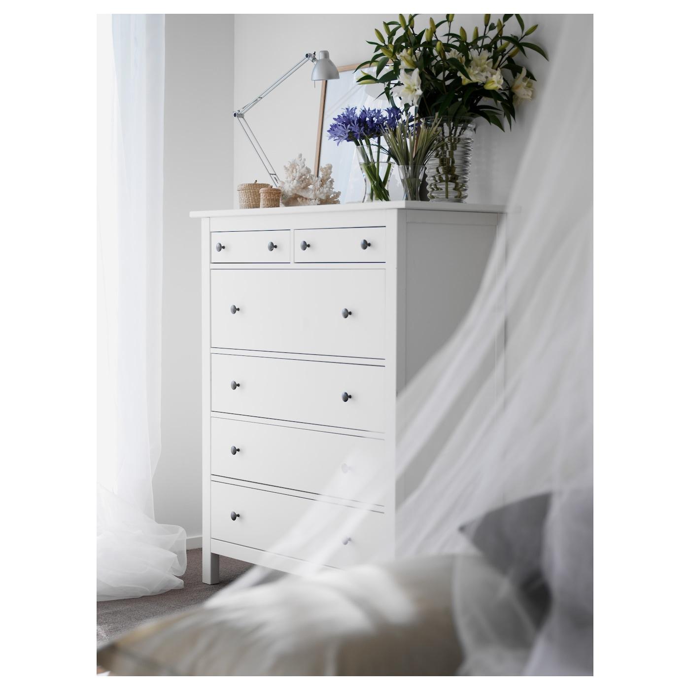 Hemnes Commode 6 Tiroirs - Teinté Blanc 108X131 Cm concernant Armoire De Jardin Ikea