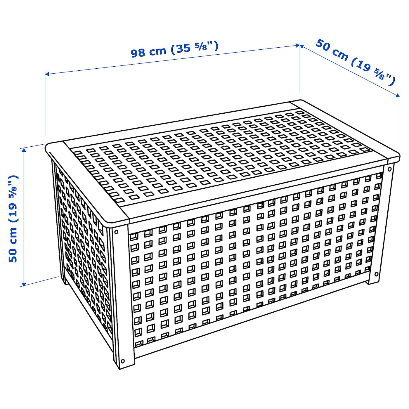 Hol Table De Rangement - Acacia 98X50 Cm avec Coffre De Jardin Ikea