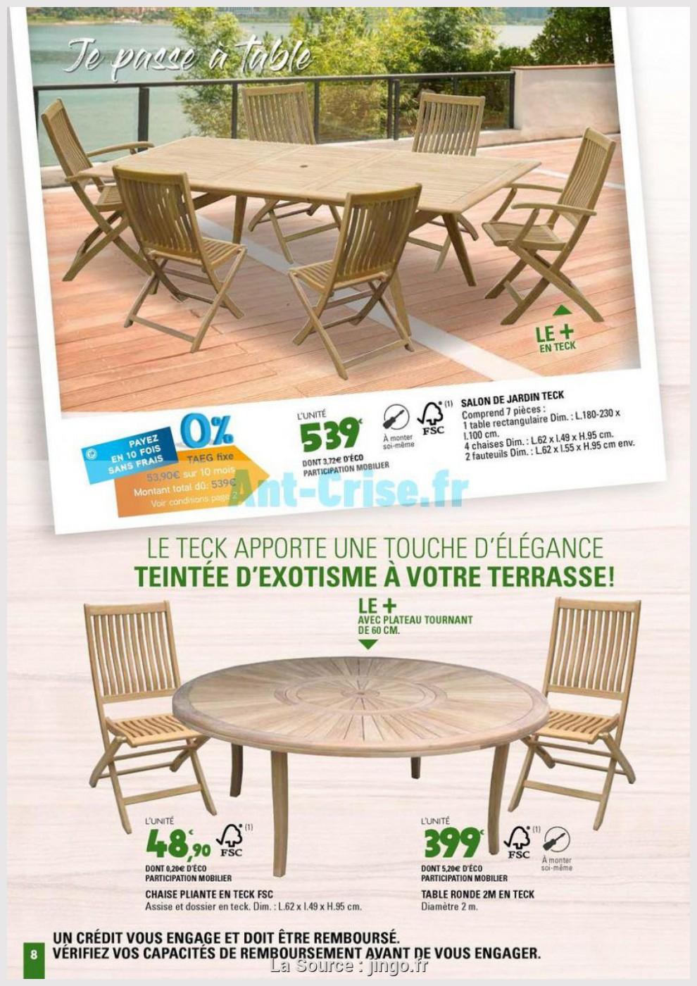 Jardin Belle Teck De Leclerc 2M 8 Table Ronde Sjzplugqmv pour Table Et Chaises De Jardin Leclerc