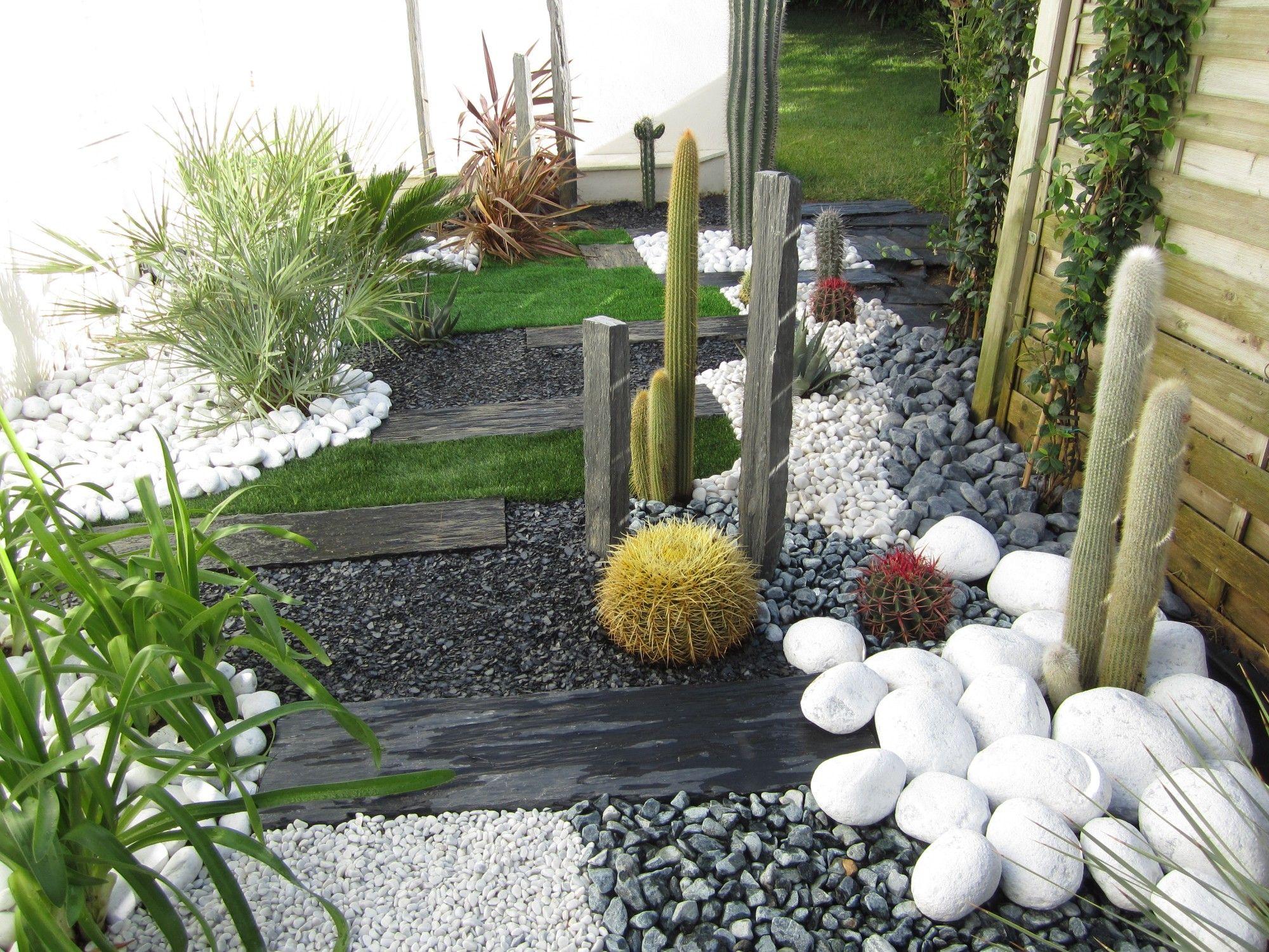 Jardin Sec: Cactus, Galets Polis Blancs, Gazon Synthétique ... concernant Jardin Avec Galets Blancs