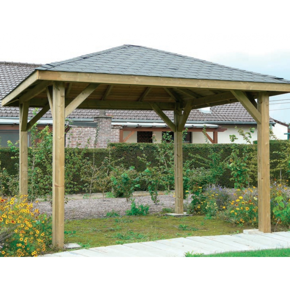 Kiosque De Jardin En Bois Martigues - 347 Cm X 347 Cm dedans Tonnelle De Jardin En Bois