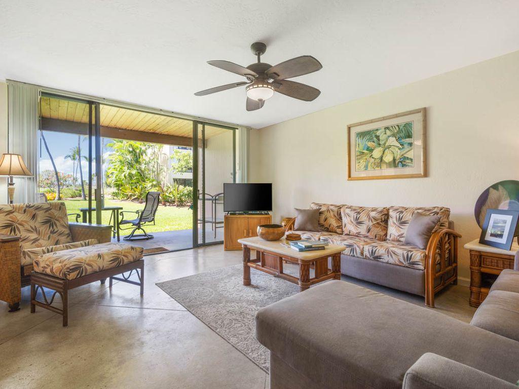 "Kksr7102 Rez De Chaussee, Vue Jardin Et Golf, Sols En Beton, ""honu Hale"" -  Baie De Kahaluu concernant Salon De Jardin Hawai"