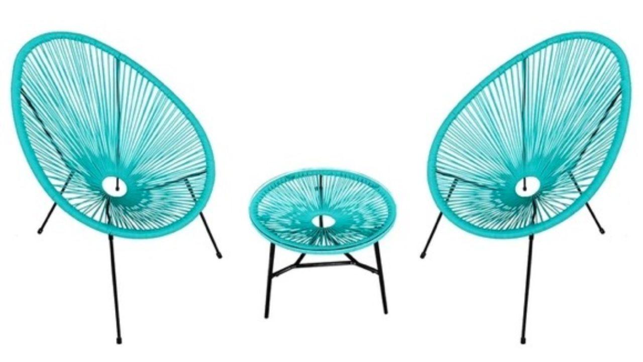 Lot De 2 Fauteuils Oeuf Bleu + Table Assortie (En Promotion ... concernant Fauteuil Oeuf Jardin