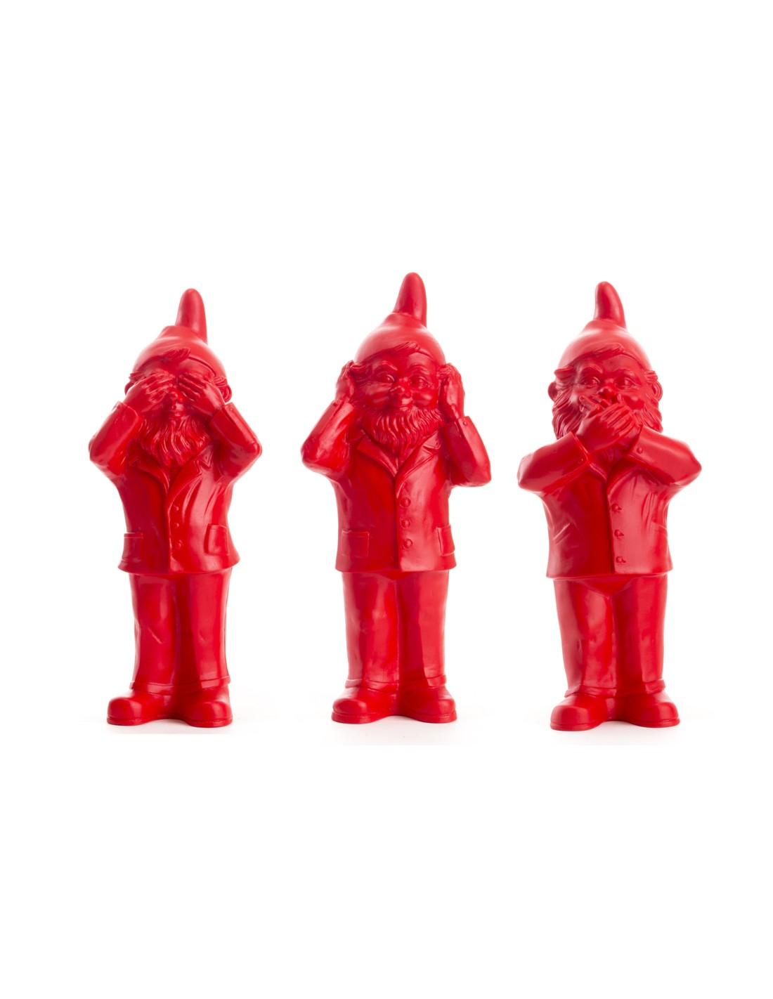 Lot De Sculptures Nain Qui Ne Voit Rien, N'entend Rien, Ne ... concernant Nain De Jardin Doigt D Honneur