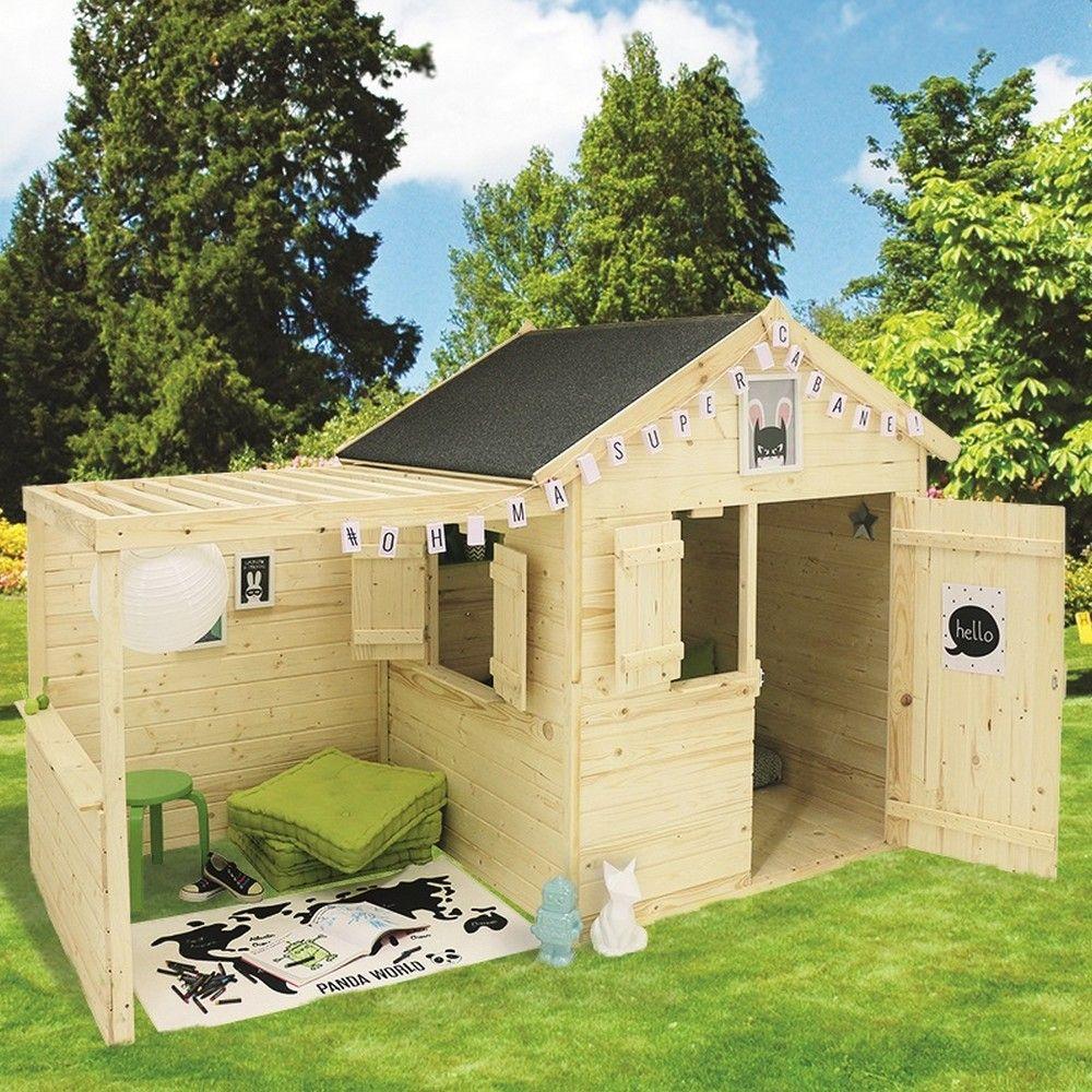 Maisonnette Enfant Bois Alpaga Avec Pergola destiné Cabane De Jardin Enfant Bois
