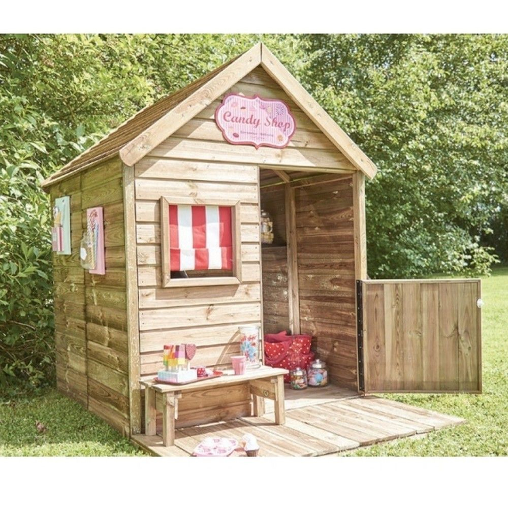 Maisonnette Enfant Bois Traité Heidi Avec Terrasse + Banc avec Cabane De Jardin Enfant Bois