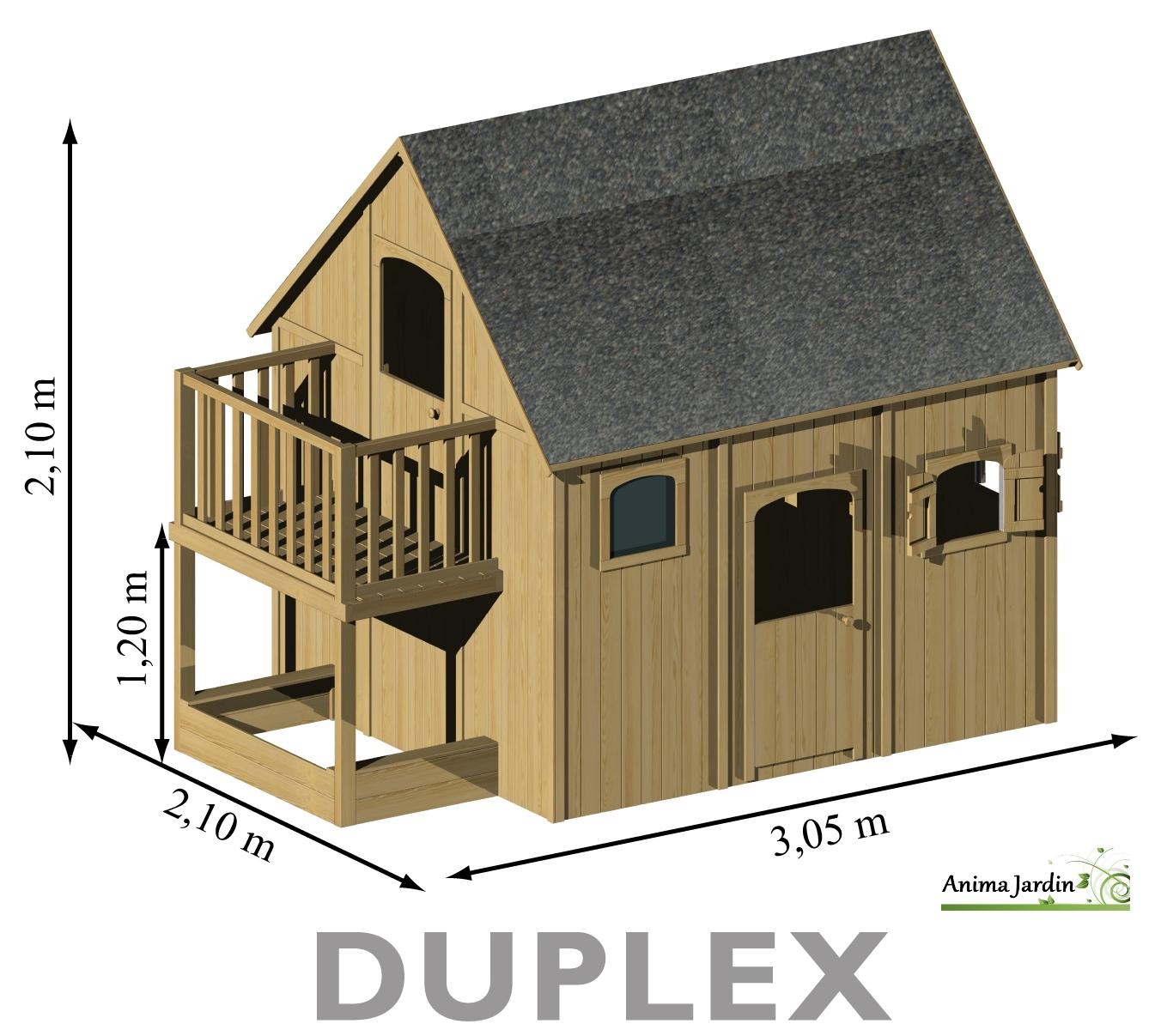 Maisonnette Enfant En Bois, Duplex, Mezzanine, Achat Pas ... concernant Cabane De Jardin Enfant Pas Cher