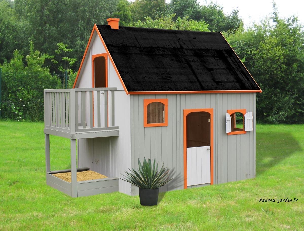 Maisonnette Enfant En Bois, Duplex, Mezzanine, Achat Pas ... intérieur Cabane De Jardin Pour Enfants