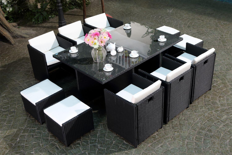 Miami 10 Noir/blanc destiné Table De Jardin En Resine Tressée