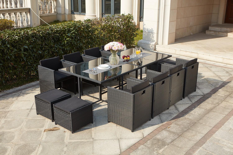 Miami 12 Noir/noir destiné Table De Jardin En Resine Tressée