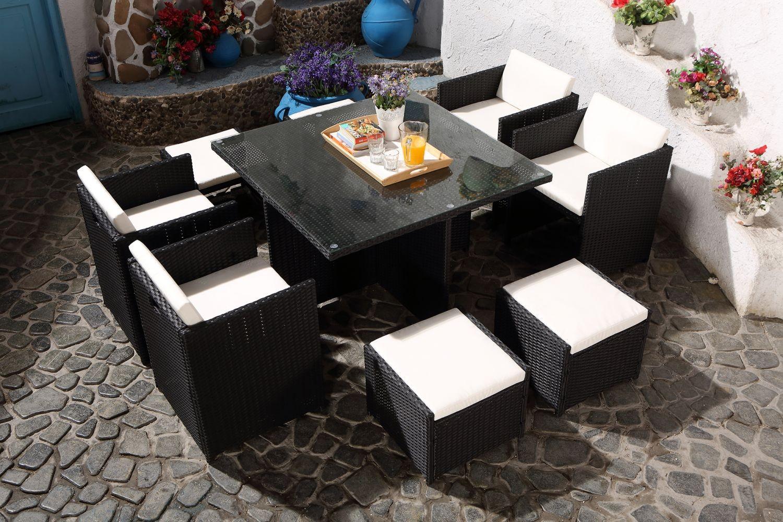 Miami 8 Noir/blanc concernant Table De Jardin Carrée 8 Personnes