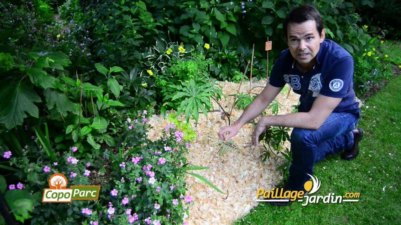 Mise En Place Du Paillage Copoparc Sur  Paillage-Jardin.mp4 encequiconcerne Copeaux De Bois Jardin