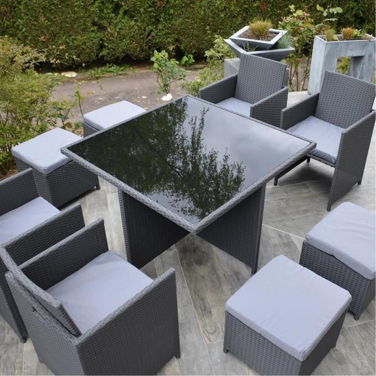Munga - Ensemble Encastrable Salon - Table De Jardin Résine Tressée - 8  Places - Gris pour Cdiscount Salon De Jardin Resine Tressee