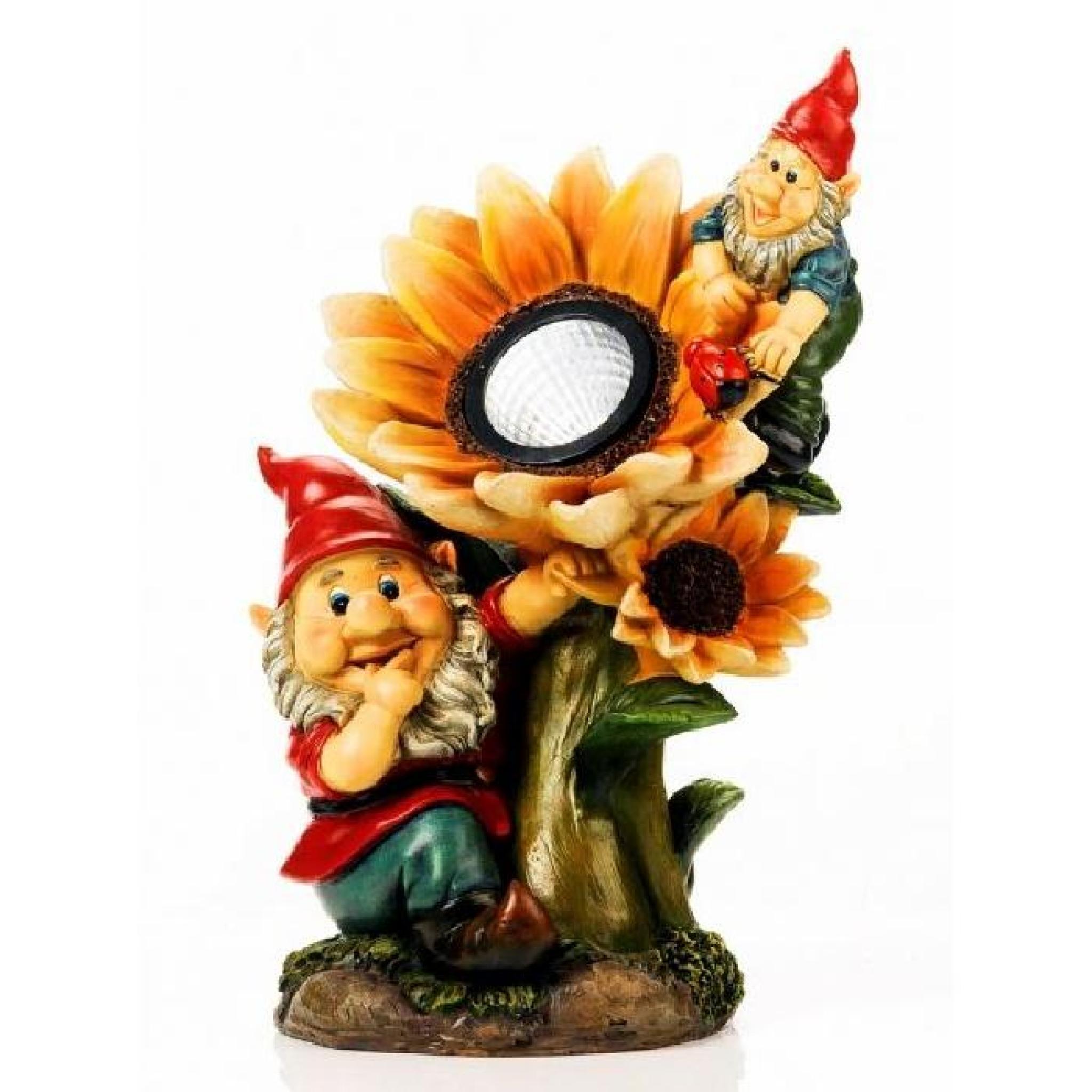 Nain De Jardin Avec Lampe Solaire Tournesol - M… destiné Nain De Jardin Pas Cher