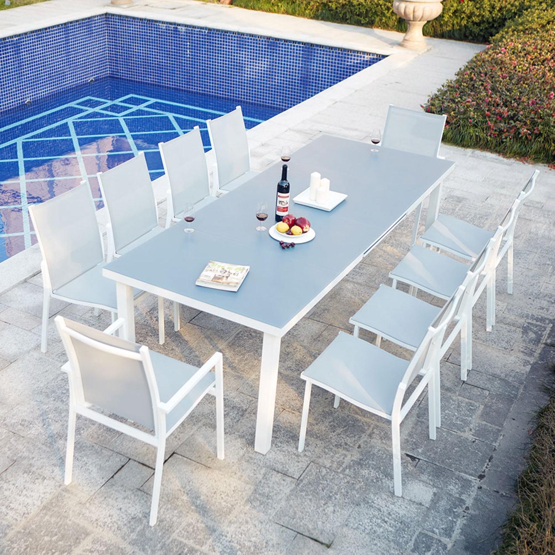 Niari 10 : Table De Jardin Extensible 10 Personnes Avec 2 Fauteuils Et 8  Chaises En Aluminium tout Table Jardin 10 Personnes