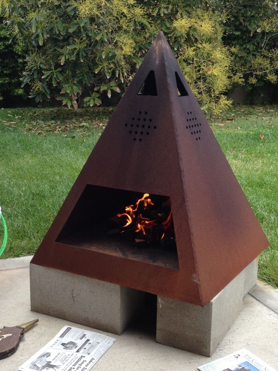 Outdoor Steel Chiminea-Fireplace | Chimeneas Exteriores ... encequiconcerne Incinerateur Jardin